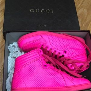 Gucci hot pink sneakers